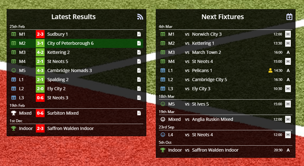 Screenshot of latest results and next fixtures